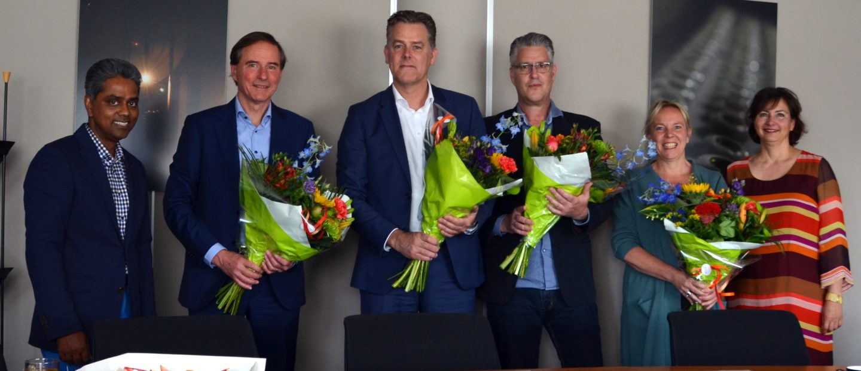 v.l.n.r.: Asief Habiboellah, Sven Asijee, Wim Bisschop, René Gieben, Liesbeth van der Moolen, Saskia Görtz
